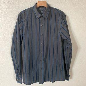 Van Heusen Studio Slim Fit Striped Dress Shirt Med